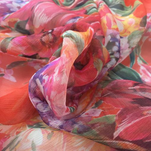 Шелк креш шифон купон принт Blumarine кораллового цвета