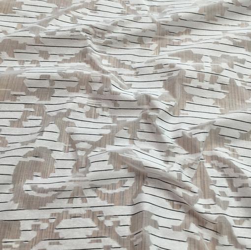 Органза нарядная хлопковая с шёлком в полоску с узором