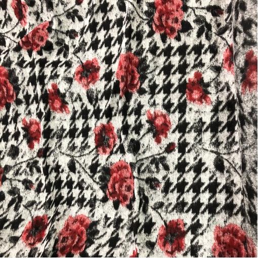 Лоден шерстяной дизайн D&G пье-де-пуль и розы