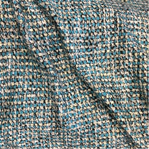 Шанель нарядная шерстяная костюмная в ярко-бирюзовой гамме