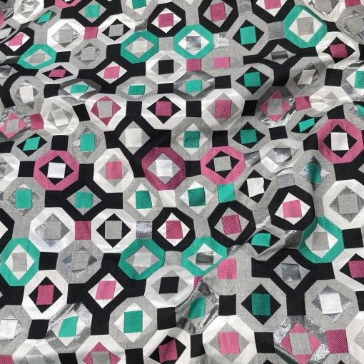 Жаккард нарядный с люрексом Ferragamo геометрия  на серебристом фоне