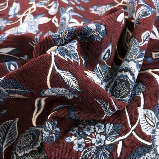 Жаккард нарядный стрейч дизайн Oscar de la Renta в свекольно-синей гамме