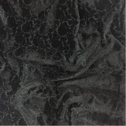 Ткань пальтовая черная D&G с меховым цветочным узором