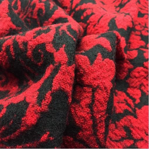Ткань пальтовая двухсторонняя D&G цветы в винно-черной гамме