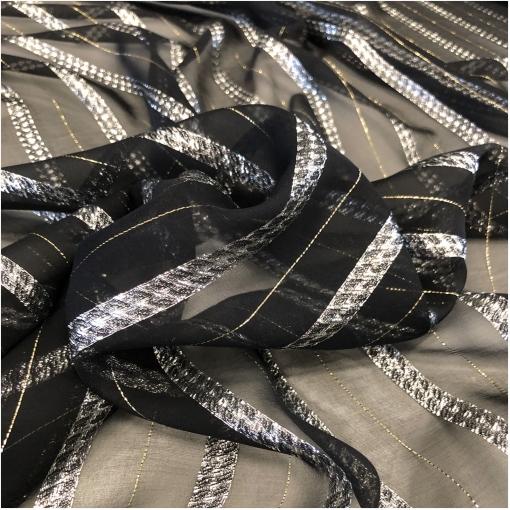 Шелк шифон черного цвета с серебристыми и золотистыми полосками