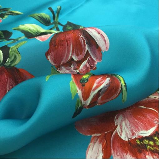 Органза шелковая принт Ferragamo продольный купон пионы на ярко-бирюзовом фоне
