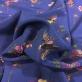 Шелк креповый принт Blumarine цветы и птички на синем фоне