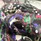 Шелк шифоновый принт Roberto Cavalli  черный купон с огурцами