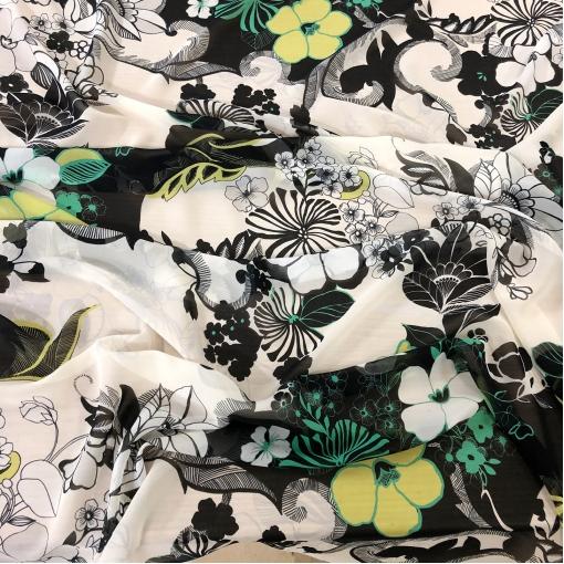 Шелк шифон принт Gai Mattiolo абстрактные цветы в желто-зеленых тонах на белом