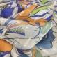 Шелк шифон сине-терракотовые цветы с люрексовыми штрихами