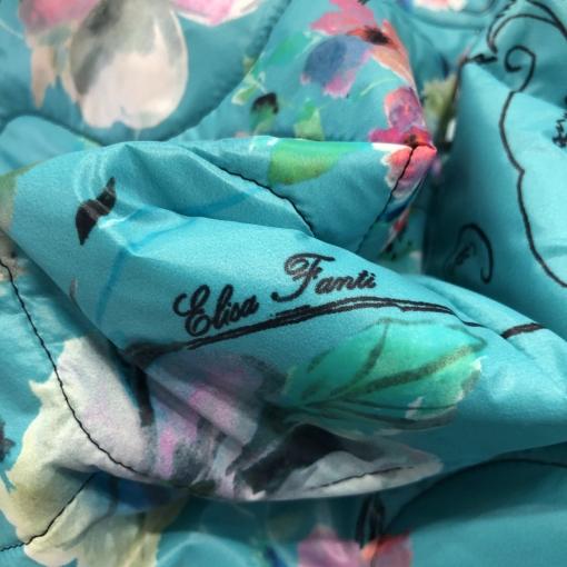 Ткань курточная стеганная принт Elisa Fanti продольный купон цветы на ярко-бирюзовом фоне