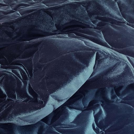 Ткань курточная стеганная бархатная принт Versace цвета темный сапфир