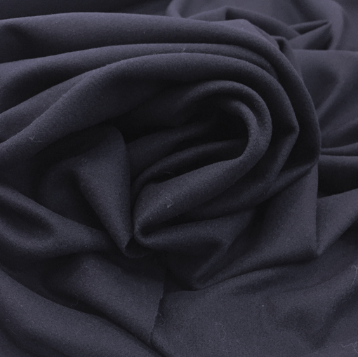 Ткань шерстяная мягкая пальтовая темно-синего цвета