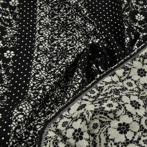 Ткань жаккардовая набивная купонная под кружево черно-белой расцветки