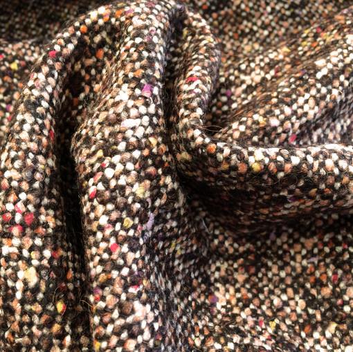 Твид пальтово-костюмный в терракотово-шоколадной гамме