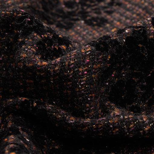Пальтово-костюмная шерсть с флоковыми цветами и люрексом