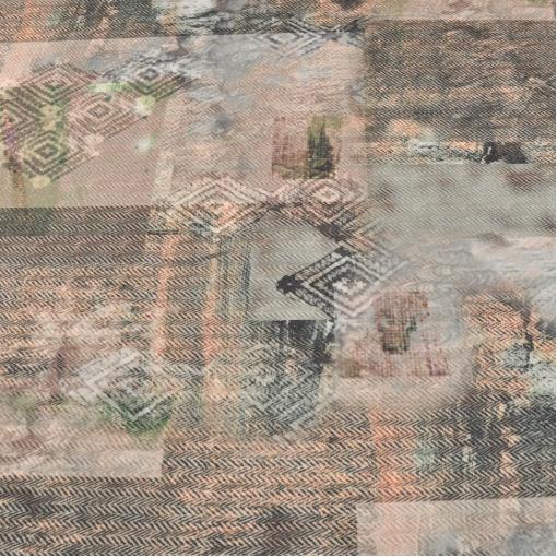 Пальтовая ткань с печатным рисунком в виде елочки и ромбов