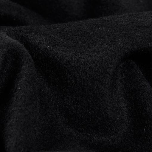Шерстяная гладкая черная пальтовая ткань