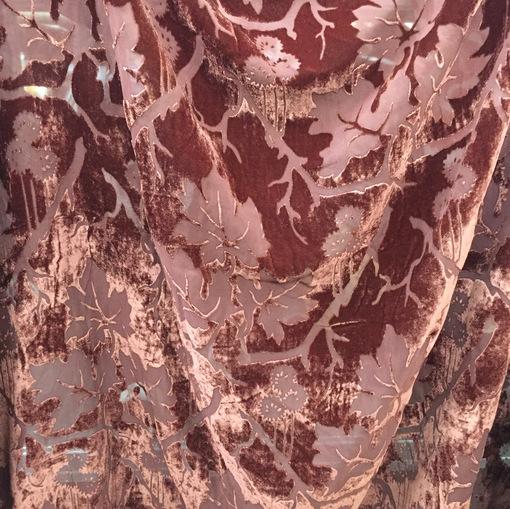 Бархат деворе вискозный на шелковой основе бордово-терракотовый