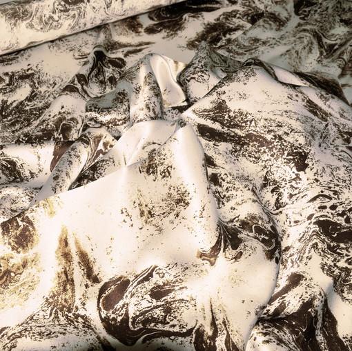 Шёлк атлас принт Setarium в бежево-коричневой гамме