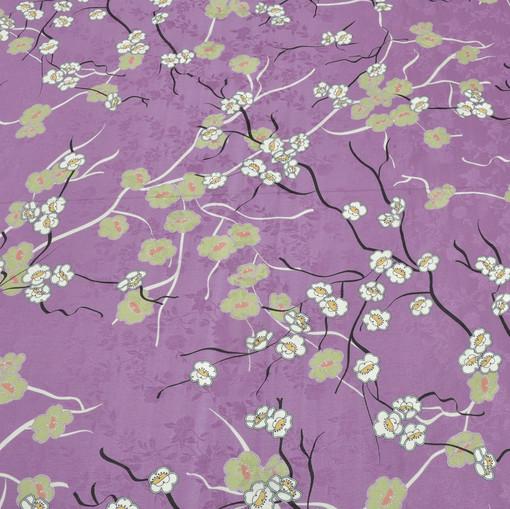 Полупрозрачный шелк лилового цвета с мелкими цвета японской вишни