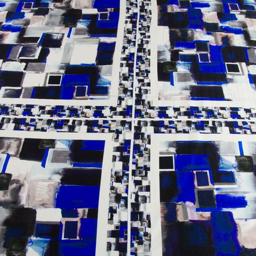 Шелк стрейч с абстрактным сине-серым принтом