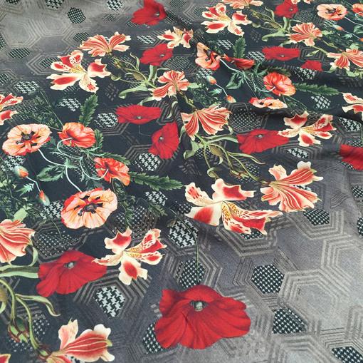 Вискоза плательная креп принт D&G цветочный купон