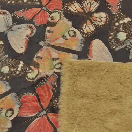 Дубленка искусственный мех с принтом бабочки