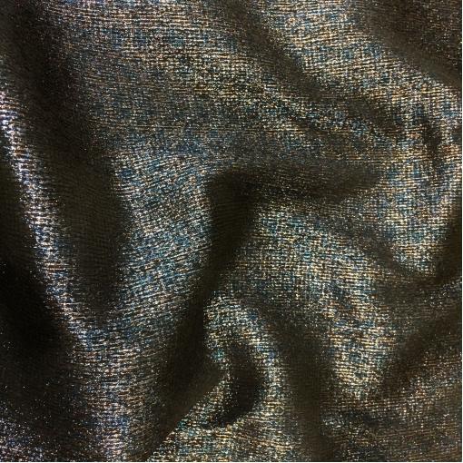 Ткань нарядная костюмно-плательная Blumarine стрейч черная с голубым и серебристым люрексом
