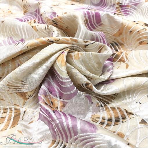 Жаккард вискозный нарядный дизайн Alberta Ferretti в сиренево-ванильных тонах