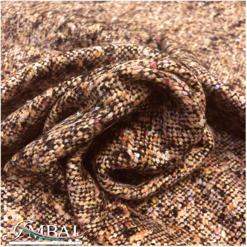 Твид пальтово-костюмный шерсть с шёлком в терракотовой гамме