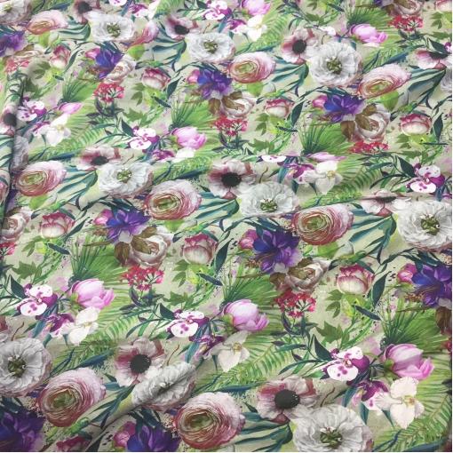 Лен костюмный тонкий принт Gucci цветы и травы на сером фоне