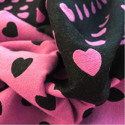 Ткань пальтовая двухсторонняя Moschino черно-розовая с сердечками