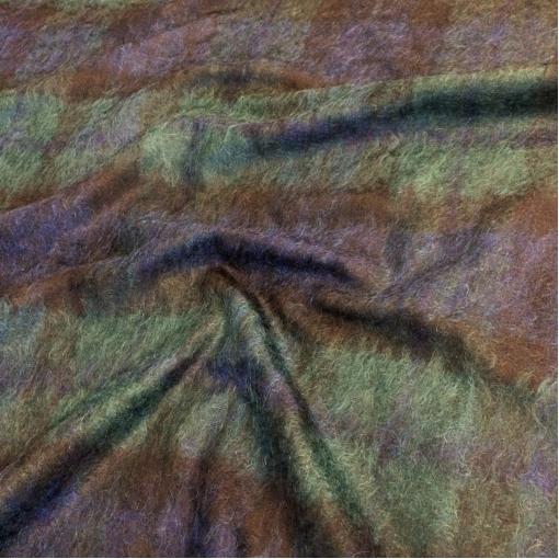 Ткань пальтово-костюмная с мохером сине-зеленая ворсовая клетка