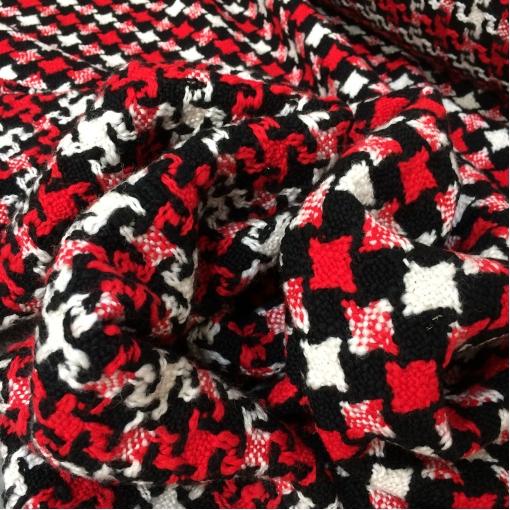 Ткань пальтовая двухсторонняя Sportmax красно-черно-белого цвета