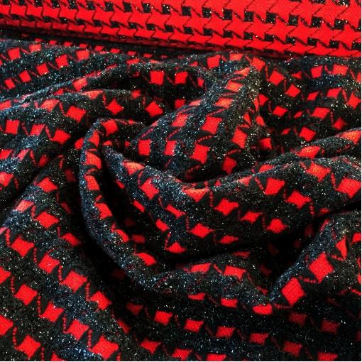 Ткань пальтовая фактурная Ferragamo винного цвета с черной люрексовой клеткой