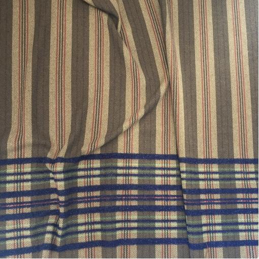 Ткань пальтово-костюмная с ангорой принт Ferragamo купон с полосами и елочкой