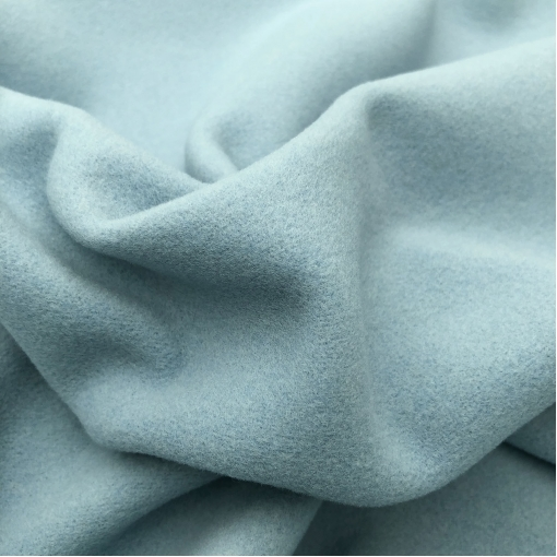 Ткань пальтовая мягкая шерстяная разбеленного пыльно-голубого цвета