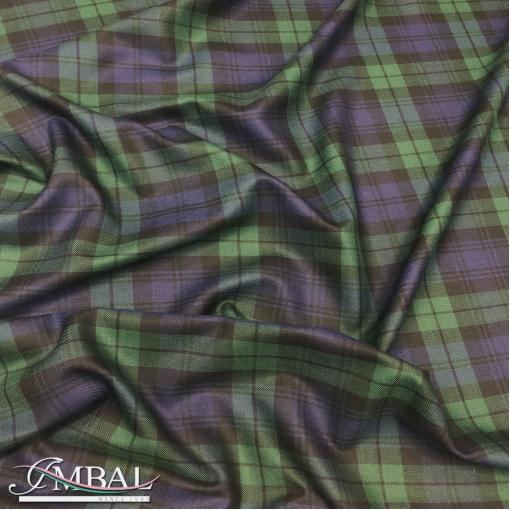 Ткань костюмно-пальтовая плотная шерстяная дизайн DIOR  в сине-зеленую клетку