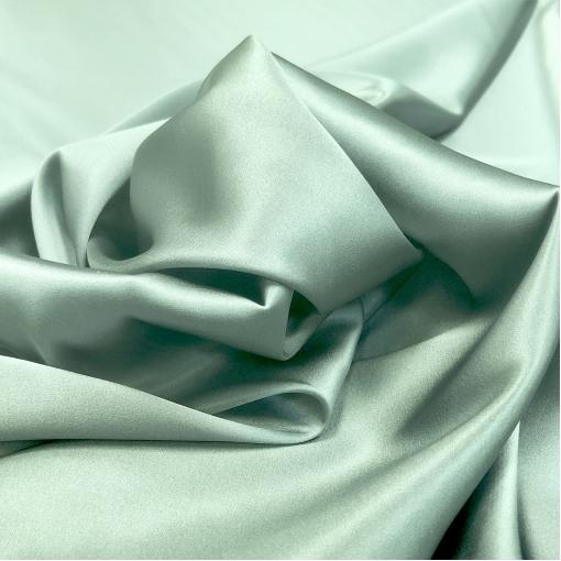 Шелк атласный стрейч плотный двухсторонний плательно-костюмный оливково-разбелённого цвета