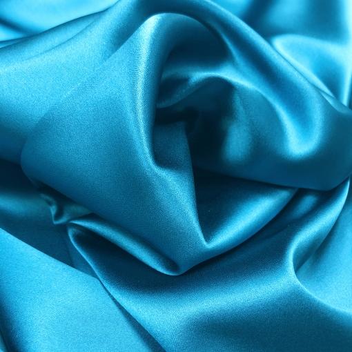 Шелк атласный стрейч плотный двухсторонний плательно-костюмный ярко-голубого цвета