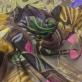 Шелк шифон принт купон бабочки на черном с золотым напылением