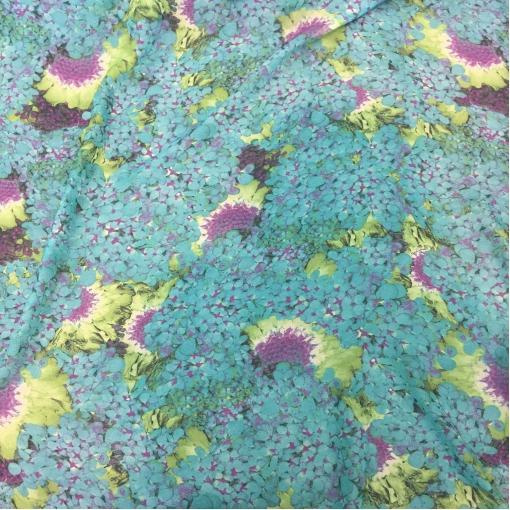Шелк шифон принт Cavalli голубые цветы