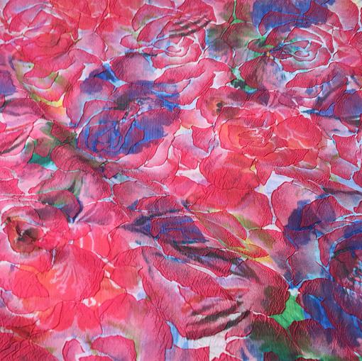 Жаккард 3D дизайн Alberta Ferretti абстрактные розы цвета фуксия