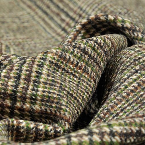 Костюмно-пальтовая ткань в небольшую бежево-коричневую клетку, с зеленой нитью