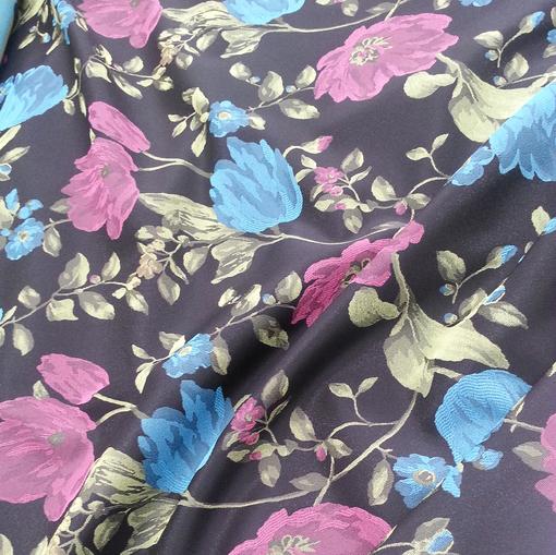 Нарядный жаккард  розово-желто-голубыми цветами
