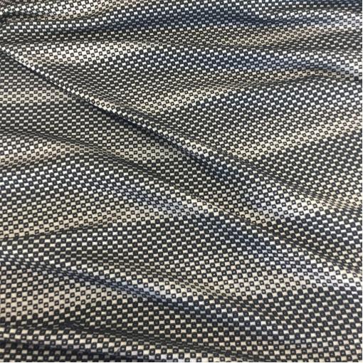 Ткань пальтовая жаккардовая Armani геометрия на ванильном фоне