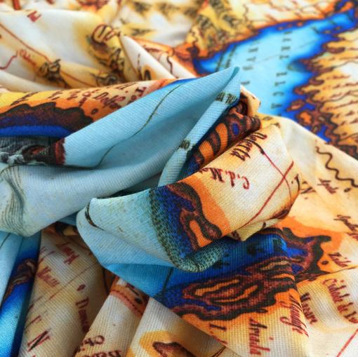 Вискозный трикотаж принт Gucci геокарты в голубых тонах