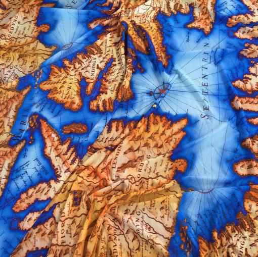 Вискозный трикотаж принт Gucci геокарты в синих тонах