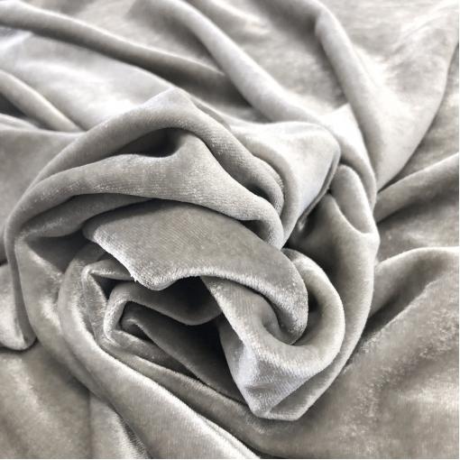 Панбархат вискозный стрейч на шелковой основе жемчужно-серого цвета